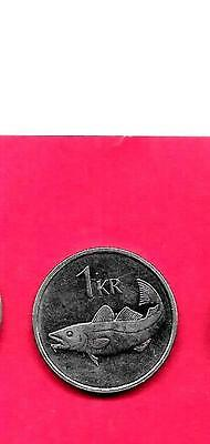 ICELAND KM27a 1994 UNC-BU MINT-UNCIRCULATED EXCELLENT OLD KRONA FISH COIN