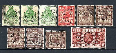 GREAT BRITAIN George V commemoratives used with perfins. (10)