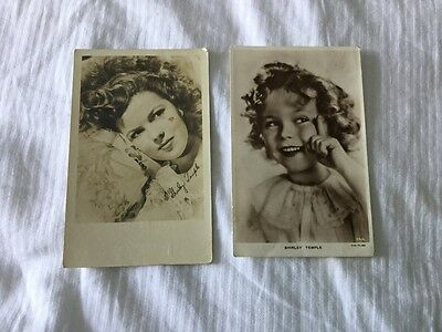2 x Shirley Temple child actress printed postcards B/W 1937 1945 written posted