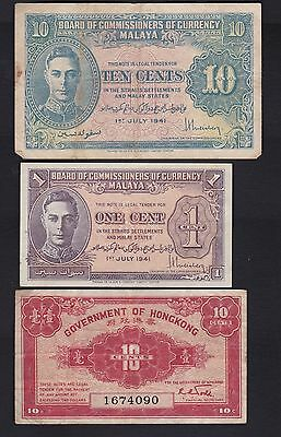 WW2 issue BCC 1941 10 cents and 1 cent and Hong Kong 10 cent notes ,