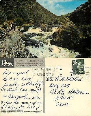 a0921 Cenarth Falls, Wales postcard posted 1974 stamp