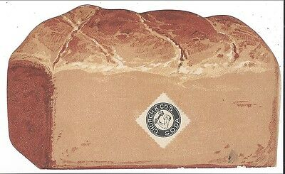 Colorful Folding Trade Card, Shape of Loaf of Bread, Arm & Hammer Soda, 1880s