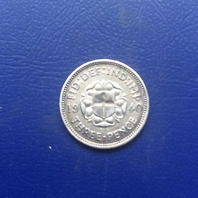 1940 George Vi Silver Three Pence Coin