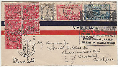 1929 Usa/canal Zone Airmail Cover New York Ny Via Miami To Cristobal Canal Zone!