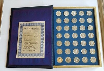 Franklin Mint Treasury of Presidential Commemorative 35 Solid Silver Medals 271g