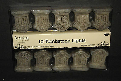 Halloween Nichole Apothecary 10 Tombstone Lights in/outdoor Light String NEW Box