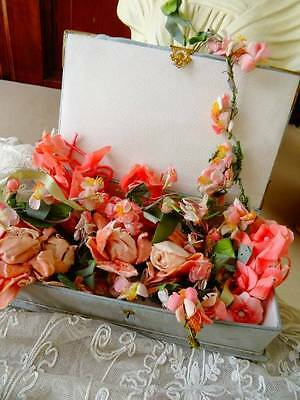 A Charming Antique Box Filled With Beautiful Antique Flowers