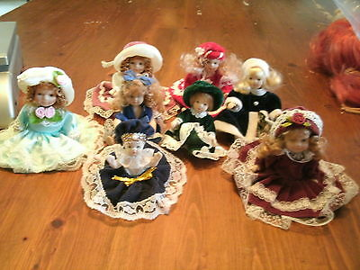 Lot of 8 Victorian Style Miniature Porcelain Dolls