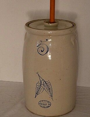 Red Wing Union Stoneware 5 gallon hand thrown butter Churn Crock Birch leaves