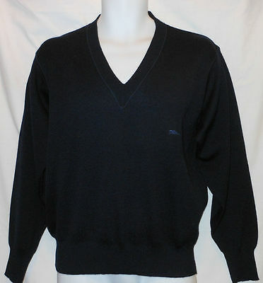 Lon4305 Longchamp Made In Italy Blackish Blue L/s V Neck Classy Wool Sweater