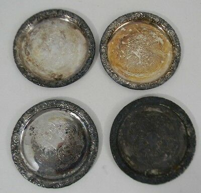 """Vintage Lot of 4 Silver Plate Beverage Glass Coasters 3.25"""" across w/ Pattern"""