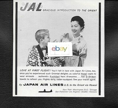 Japan Air Lines 1958 Love At First Flight Dc-6B Couriers Boy In Happi Coat Ad