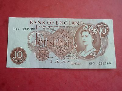 BK OF ENGLAND - HOLLOM 10 SHILLINGS REPLACEMENT NOTE - PREFIX M53 - P373b