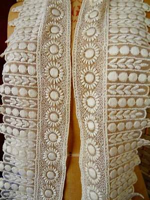 An Exquisite Antique Edwardian Satin Creamy Silk Lace On Tulle C.1905