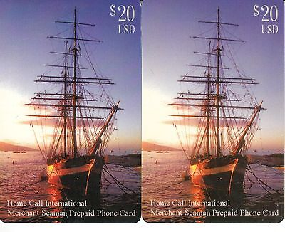 2x Home Call International $ 20 USD Merchant Seaman Prepaid Phone Card, UAC, geb