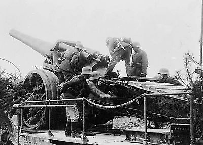 WW1 c1918 German 17cm Artillery Gun On Rail WagonFirst World War  Photograph