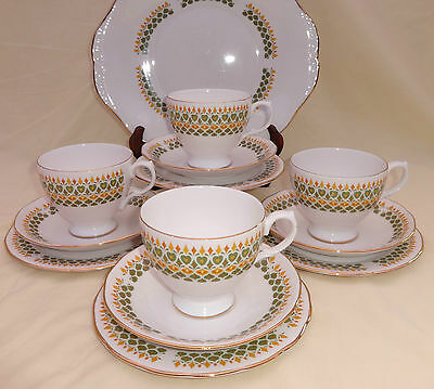 Royal Kent Bone China Tea Set for 4  Green Gold Decoration