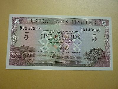 NORTHERN IRELAND - ULSTER BANK £5 NOTE DATED 1.12.1989 - P331a - XF