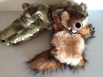 Bundle X 2 The Puppet Company Large Sleeve Hand Puppets Wolf And Crocodile