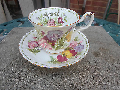 "Royal Albert    "" APRIL Flower of the Month  Cup and Saucer"