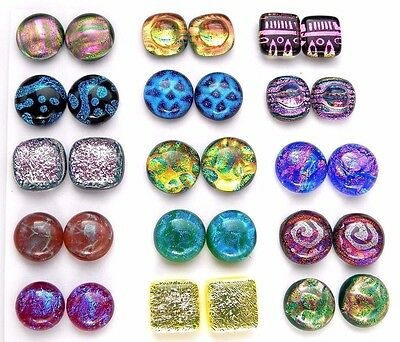 Lot 30pcs round square handmade DICHROIC earrings FUSED GLASS (BK5) CABOCHON