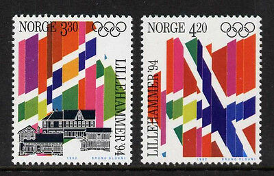 Norway 1029-30 MNH Winter Olympics, Flags, Architecture