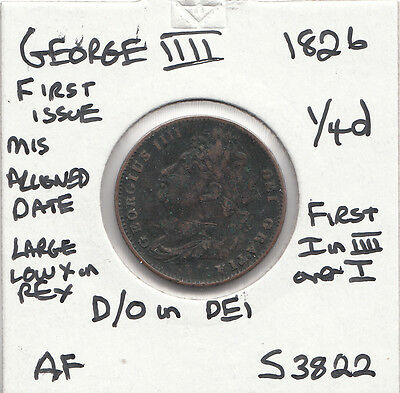 1826 George Iiii Farthing S3822 D/o In Dei With Many Errors See Description