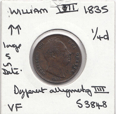 1835 William 1111 Farthing S3848 With Many Errors See Description