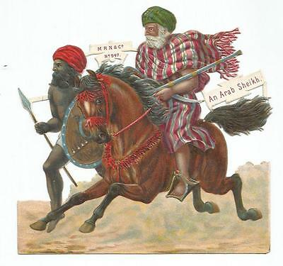F03 - Large Diecut Victorian Scrap - An Arab Sheikh - Oblate