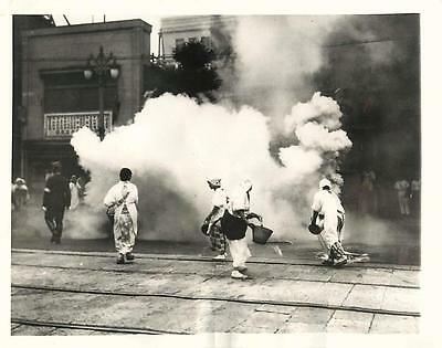 WWII Women's Fire Fighting Brigade in Drill on Ginza in Tokyo Orig Press Photo