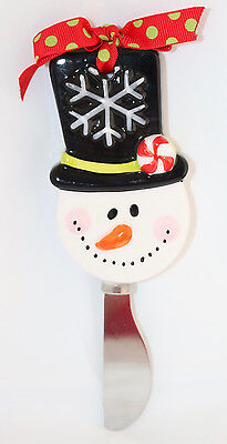Mudpie SNOWMAN CHEESE KNIFE New Holiday Christmas Ceramic Metal