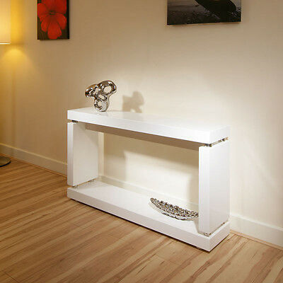 Console / Hall Table in High Gloss / Glossy White Lacquer Finish 397X
