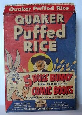 1949 Quaker Puffed Rice Cereal Box Bugs Bunny Warner Bros Pocket Comic Book offr