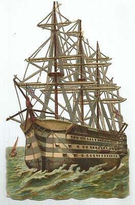 F32 - Extra Large Diecut Victorian Ship Scrap - Nelson's Flagship - The Victory