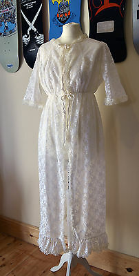 Original Vintage Hollywood Sissy Glamour Frilly Lacy Housecoat Night Gown