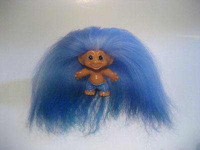 Vintage 1960's Scandia Dam Troll Doll New Teal Blue Eyes New Mohair & Clothes