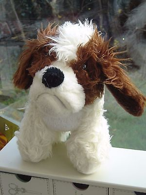 Vintage  Cuddly Toy Shaggy  Dog In White And Brown