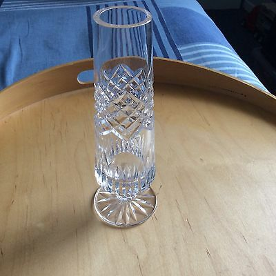 """Tyrone Crystal Vase 6.8"""" Tall Cut Unknown to me Stamped - VGC NO BOX"""