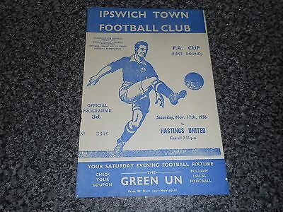 IPSWICH TOWN  v  HASTINGS UNITED  1956/7 F A CUP 1st ROUND ~ NOVEMBER 17th