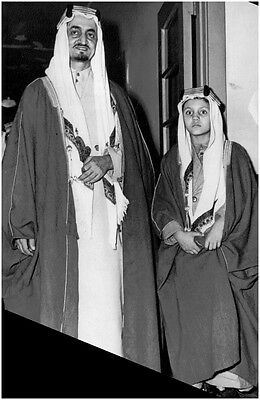 Vintage photo of The Emir Al-Feisal of Saudi Arabia along with his 9-year-old so