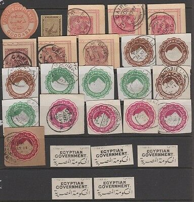 Egypt various postal cut outs and labels - see scan