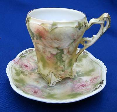 Rare Antique Royal Bayreuth Rose Tapestry Porcelain Chocolate Coffee Cup Saucer