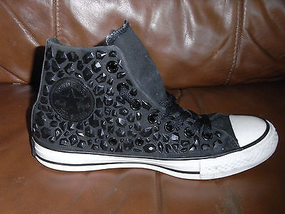 Converse Canvas All Star BOOTS Trainers - BLACK Rhinestone - Size 5 UK Adult