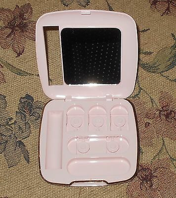 NICE MARY KAY CUSTOM COMPACT - UNFILLED Pink with Gold Trim & Mirror