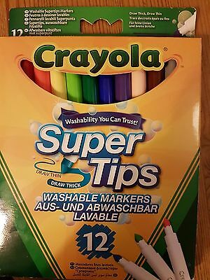 Crayola Super Tips Washable Markers 12 New
