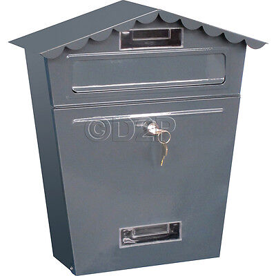 Grey Steel Post Box Postbox Lockable Letter Mail Wall Mounted New By Home Discou