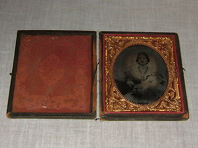 Antique Vtg Leather Case Ambrotype Photo Victorian Woman, 1800's