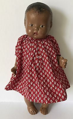 """13"""" Vintage Black Composition Baby Doll In Red Dress, As Is"""