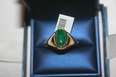New 14K Yellow Gold With A 4.64 ct.Emerald Mens Ring size 10 3/4