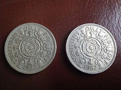 2 x Two Shillings Coins 1957 and 1967